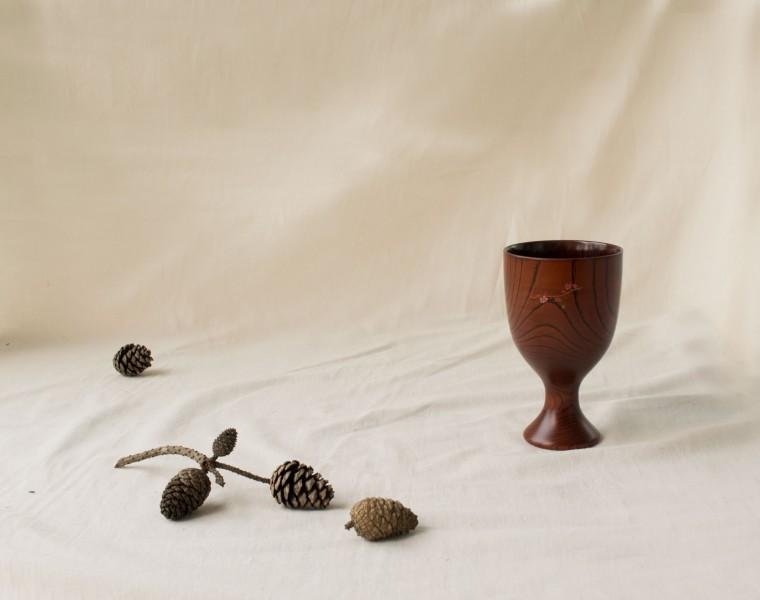 옻칠 컵 (와인잔형)